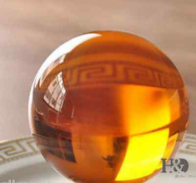 40mm Asian Glass Yellow Magic Crystal Ball Sphere +Stand