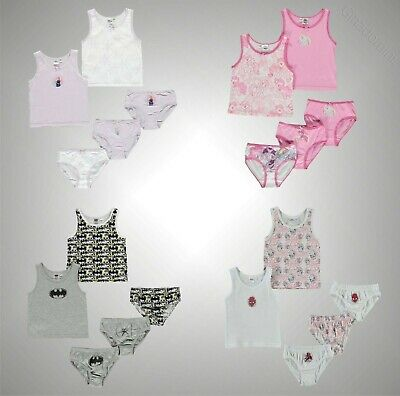 5 Pack Boys Girls Branded Character Print Vest And Brief Set Sizes Age 2-10