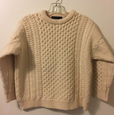 Blarney Woolen Mills Cable Knit Ivory Fisherman's Sweater Child L or Women's XS