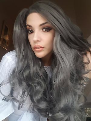 Long grey lace front wig