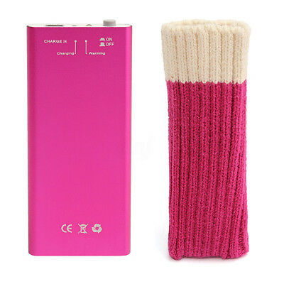 Rechargeable Hand Warmer in Pink. Includes Comfort Sock & Charging Cable