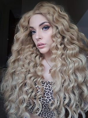 Blonde curly disney princess lace front wig