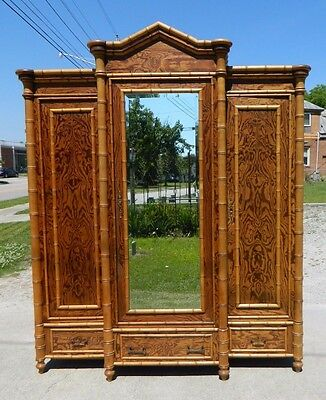 19th Century Faux Bamboo and Pine Victorian Wardrobe Armoire
