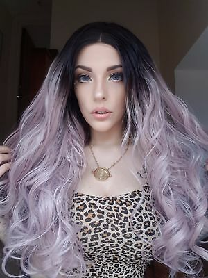 Dark rooted to pastel pink ombre lace wig