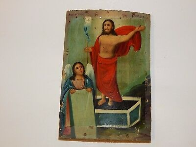 antique 19th century Russian icon THE RESURRECTION OF CHRIST 1129