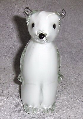 Art Glass Bear White Figurine/Paperweight with Black Eyes and Nose New