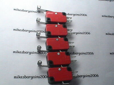 MICROSWITCHES (pack of 5) 250 VOLTS x 15 Amp  LEVER ROLLER LIMIT MICRO SWITCH