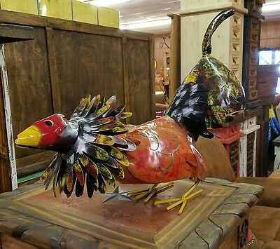 Mexican Recycled Distressed Metal Garden Yard Art Fighting Cock Rooster  Medium