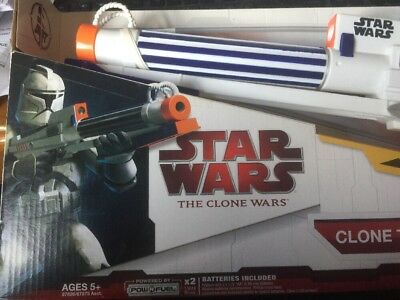 Clone Trooper Blaster Star Wars Fires Foam Darts Target Lights Hasbro 2009  nerf