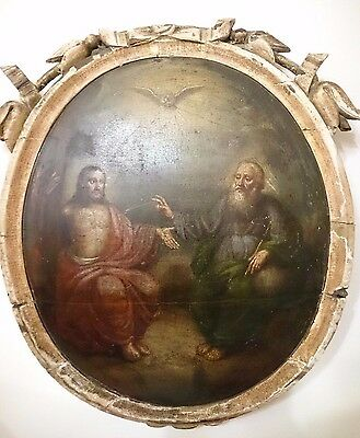 """Antique Russian Orthodox Large Icon """"Holy Trinity"""" Oil Wood 19th century."""