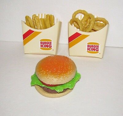 Vintage 1980's Burger King Realistic Fake Food - Burger, Onion Rings & Fries