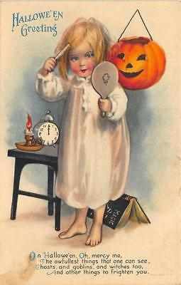 Ellen Clapsaddle Young Dress-up Girl Brush Mirror Halloween Postcard
