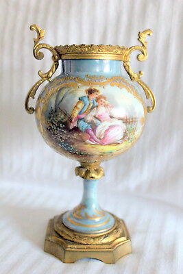 Antique French Sevres Porcelain Urn Bronze Ormolu Handles Hand Painted Scene