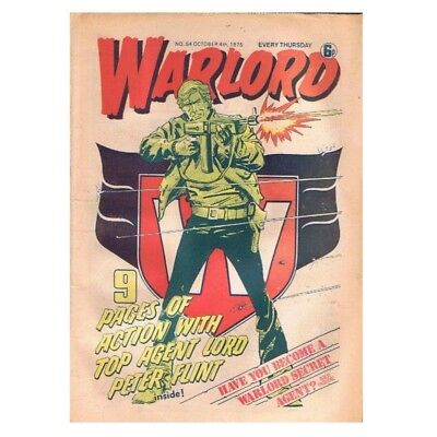 Warlord Comic October 4 1975 MBox2839 No.54 9 Pages of action with top agent lor