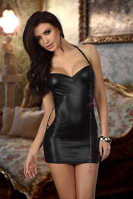"SEXY MINIABITO NERO LUCIDO CON PERIZOMA ""SARAH"" BN6394 Beauty Night Regalo"