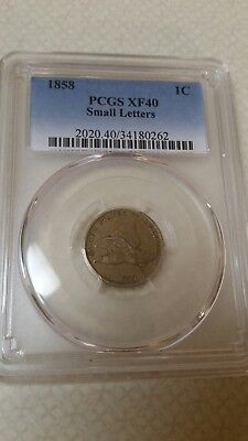 1858 1C PCGS XF40 Flying Eagle Cent Small Letters