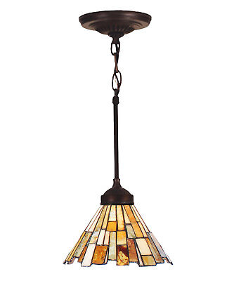 "Meyda Tiffany Stained Glass 8""W Jadestone Delta Pendant Ceiling Light Fixture"