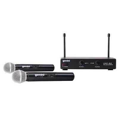 Gemini UHF-02M 2-Channel Wireless Dual Mic Handheld Vocal Microphone System S12