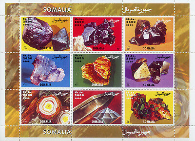 Somalia 2000 MNH Minerals 9v M/S Nature Geology Earth Science Stamps