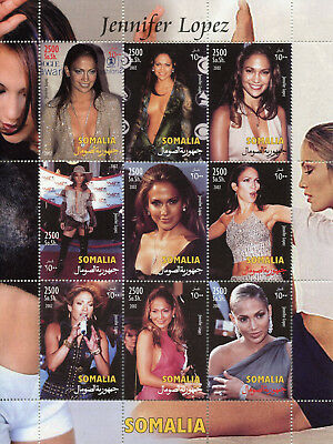 Somalia 2002 MNH Jennifer Lopez JLo 9v M/S Pop Music Celebrities Stamps