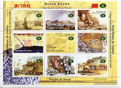Guinea 1998 MNH History of Macao Return to China 1999 9v M/S Ships Maps Stamps