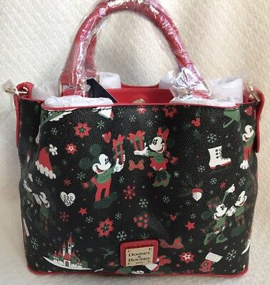 Disney Dooney & and Bourke Christmas Woodland Winter Holiday Tote Purse Bag D