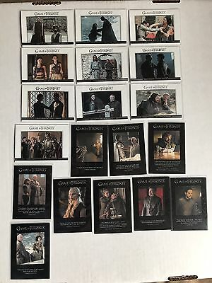 2017 Game of Thrones Season 6 Relationships  & Quotable's 2 Insert Sets Complete