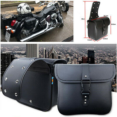 Pair Waterproof Motorcycle PU Leather Saddle Bags Storage Kits Pouch Left&Right