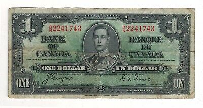 Canada 1937 $1 Bank of Canada Banknote B/N