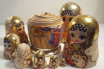 10 Pcs Russian Hand Painted Nesting Doll Magnificent Matryoshka FAIRY TALE 1995