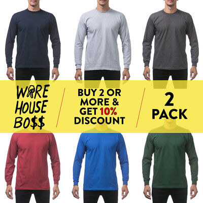 2 Pack Proclub Pro Club Mens Casual Long Sleeve T Shirt Heavy-Duty Cotton Shirts