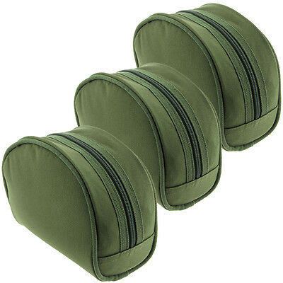 3 x NGT Green Carp Coarse Padded PVC Backed Green Fishing Tackle Reel Cases Set