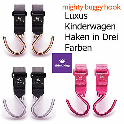 Mighty Buggy Hook Kinderwagen Haken Taschenhalter 2er Pack Aluminium Think King