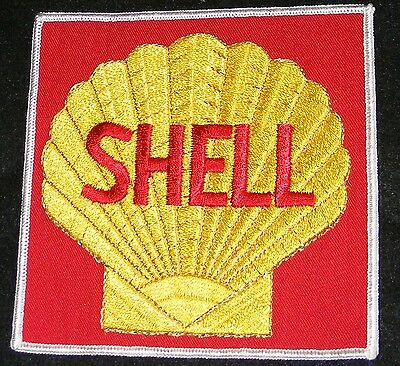 "Shell Oil  Gas Patch  5"" X 5"" Vtg Embroidered Uniform Minty Condition Emblem!"