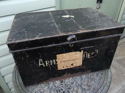 Large Vintage Metal Deed Box Storage Tin Chest #5 Signwritten Armstrong Decd