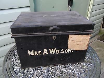 Large Vintage Metal Deed Box Storage Tin Chest #16 Signwritten Mrs A Wilson