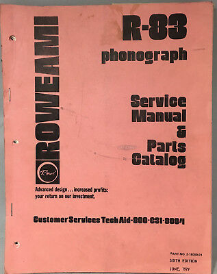 Jukebox Manual Rowe R-83 Service Manual & Parts Catalog - Not For Pinball