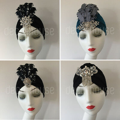Detachable Feather Hair Clip Turban Headband Hat Vintage Flapper1920s Headpiece