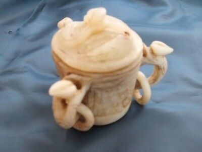 Ancient Chinese old jade hand-carved double ring  Vase
