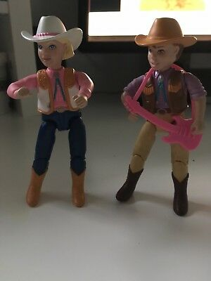 "2001 Cowboy and Cowgirl 4.5"" Mattel Action Figure Loving Family Dollhouse"