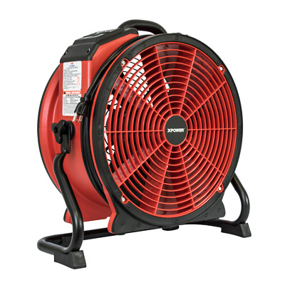 XPOWER X-41ATR Red Pro Axial Air Mover Floor Carpet Dryer w/ Power Outlet, Timer