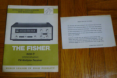 Fisher 600-T owner manual instructions (original)
