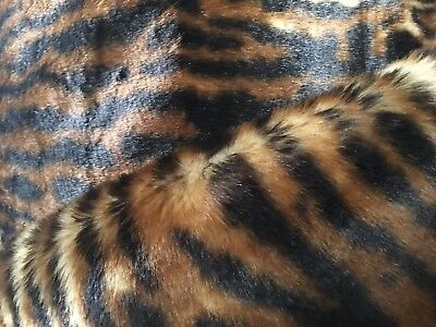 Leopard Animal Skin Faux Fur Luxury Fabric-BROWN, TAN AND BLACK. Sold BTY