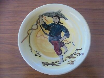 Martin Boyd Signed china Boy with kite bowl Very Rare