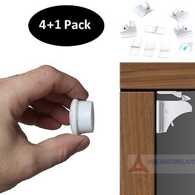 Invisible Magnetic Baby Child Pet Proof Cupboard Door Drawer Safety Locks (4+1)