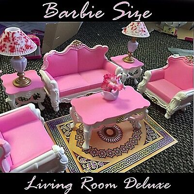 VINTAGE DOLLHOUSE FURNITURE Miniature Lot Kit Set Mini Barbie Size ...