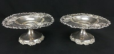 Elegant Pair of Antique J.E Caldwell Sterling Silver Compotes with Floral Detail