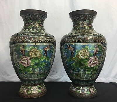 Large Matching Pair Of Antique Chinese Cloisonné Vases Flower & Birds Designs