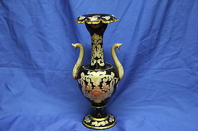 Impressive Dark Ruby Red Bohemian Moser Glass Vase with Intricate Gold Gilding