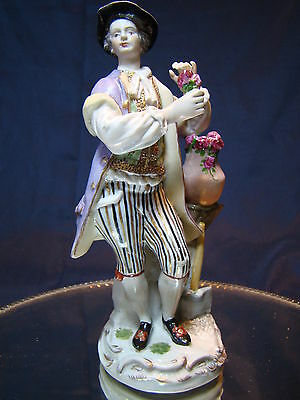 Great Quality Antique German Meissen Figure of Man with Rose 19th Century